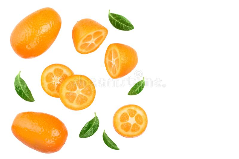 Cumquat or kumquat with slices isolated on white background with copy space for your text. Top view. Flat lay.  royalty free stock photo