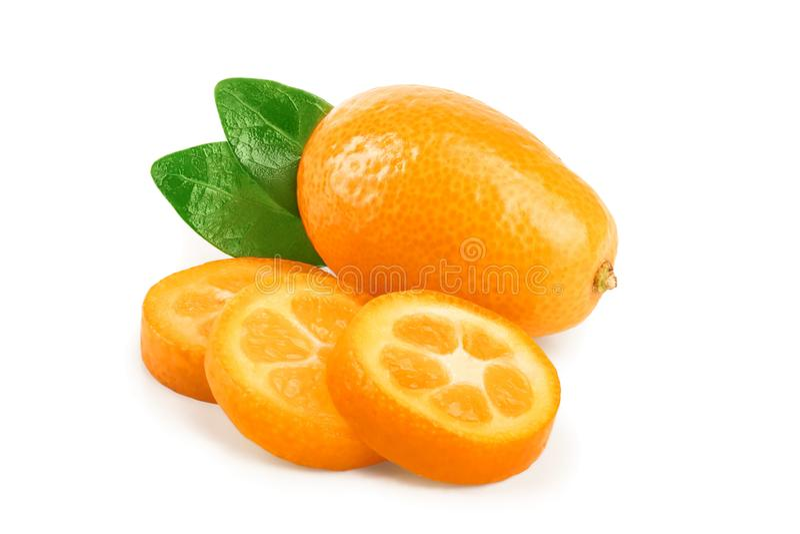 Cumquat or kumquat with slices isolated on white background.  stock images