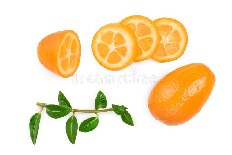 Cumquat or kumquat with slies isolated on white background. Top view. Flat lay.  royalty free stock photography