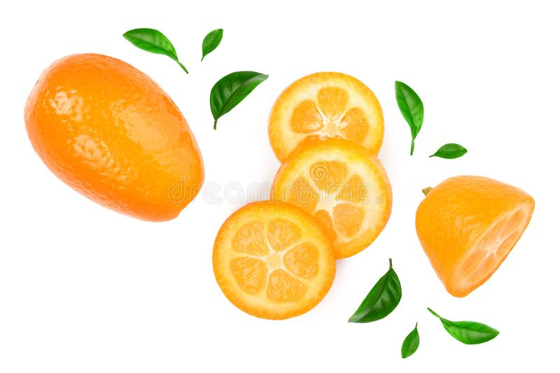 Cumquat or kumquat with slies isolated on white background. Top view. Flat lay.  stock image