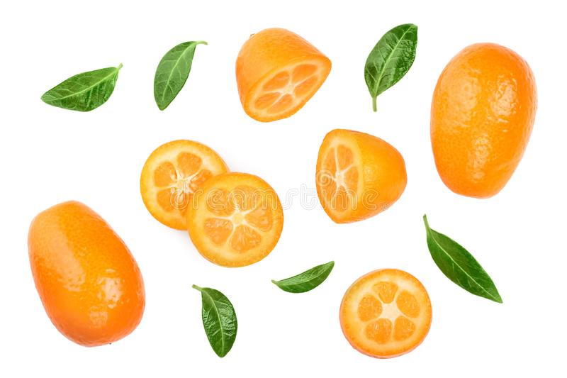 Cumquat or kumquat with slies isolated on white background. Top view. Flat lay.  stock photo