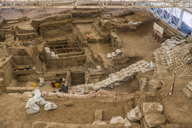 Built in 7500 B.C. Catalhoyuk is the oldest settlement in the world. Neolithic and Chalcolithic. Cumra, Konya/Turkey June 1 2016: Built in 7500 B.C. Catalhoyuk stock photo