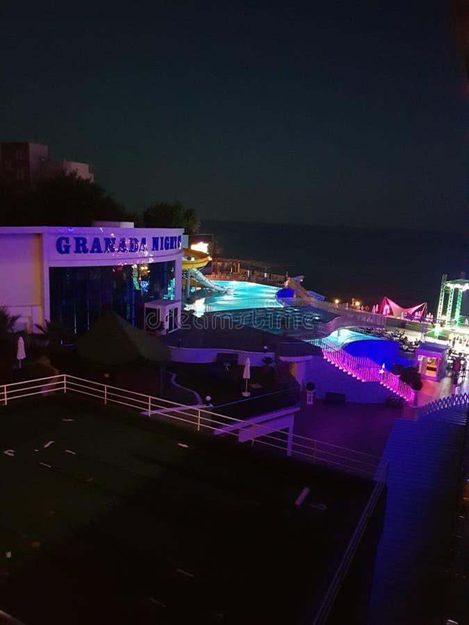 cumujący noc portu statku widok zdjęcia stock