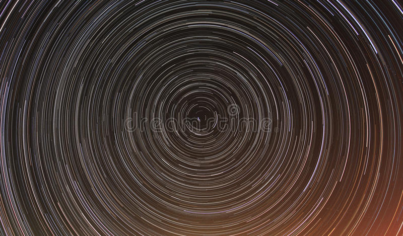 Cumulative timelapse of star trails in night sky. royalty free stock photos