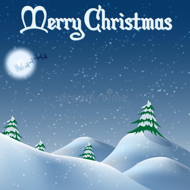 Cumuli di neve ed alberi di Natale in stile fumetto illustrazione di stock