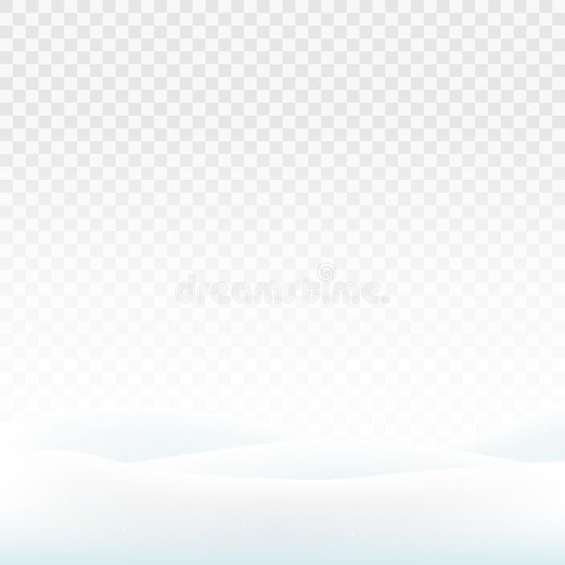 Cumuli di neve di riserva dell'illustrazione di vettore isolati su un fondo trasparente Neve bianca Colline di Snowy Le dune di n royalty illustrazione gratis