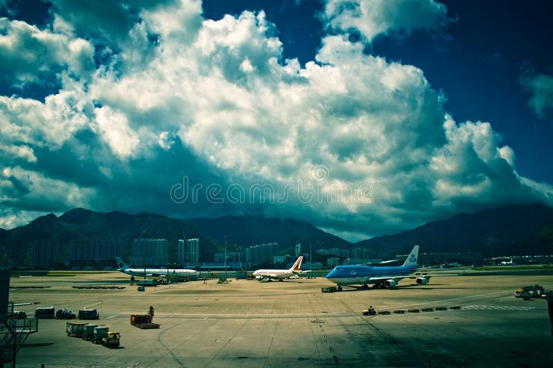 Cumulus above airport royalty free stock photos