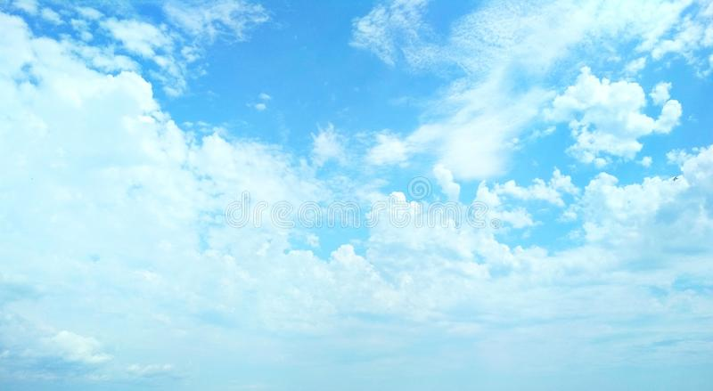 Cumulus clouds peacefully floating in the sky. View of a natural background, wool pack clouds that are peacefully floating in the sky royalty free stock photo