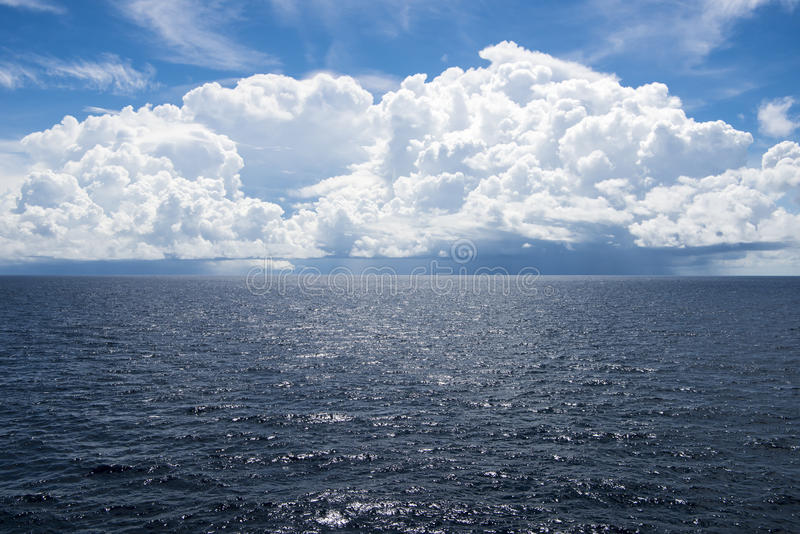 Cumulonimbus clouds over South Pacific Ocean royalty free stock image