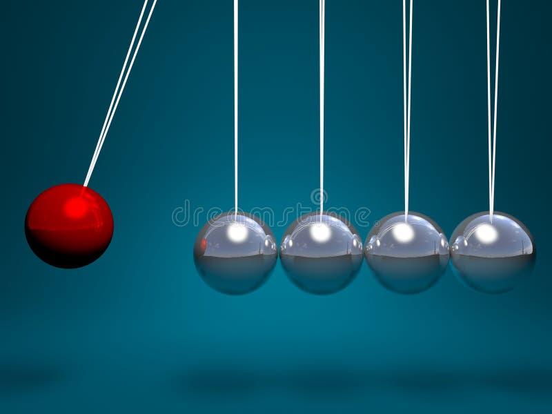 cuna de los neutonios 3d con la bola roja ilustración del vector