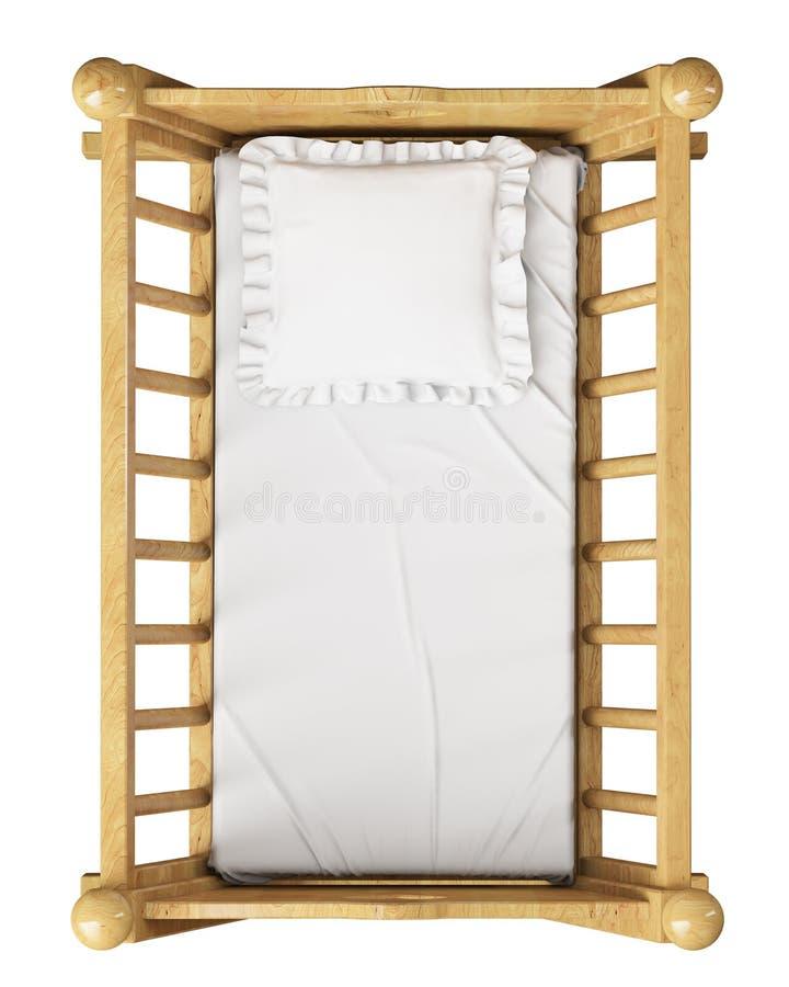 Cuna de madera del bebé con la almohada aislada en el fondo blanco, visión superior ilustración del vector