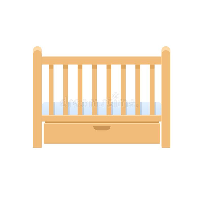Cuna de madera rectangular de la cama, con la almohada, colchón para los niños libre illustration