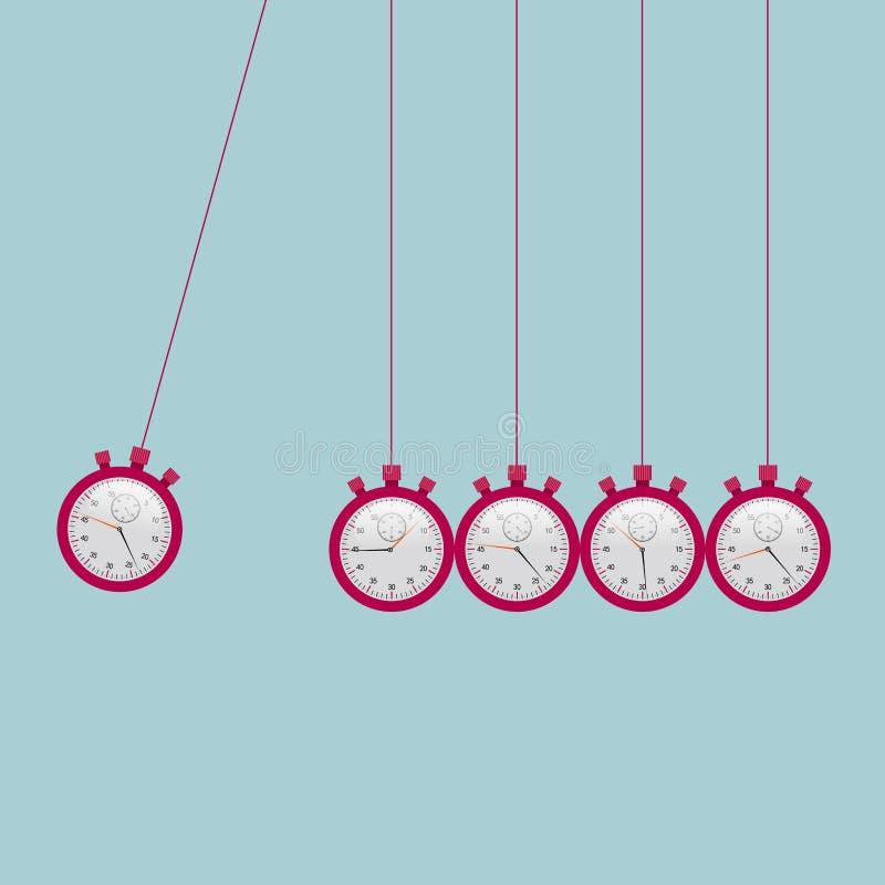 Cuna del ` s de Newton, péndulo neutoniano de la formación del cronómetro stock de ilustración