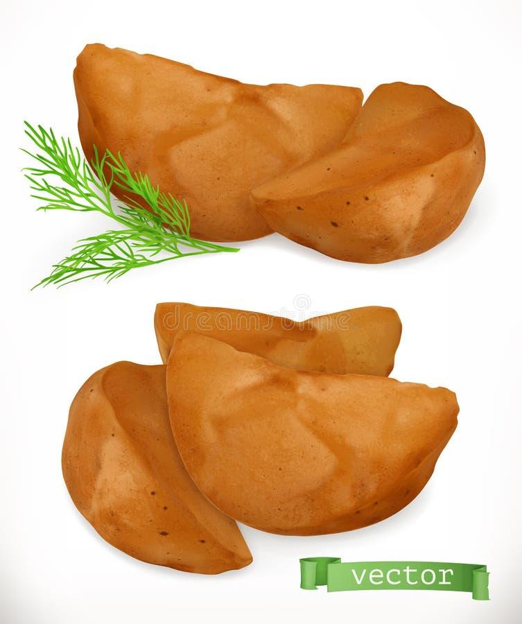 Cunei della patata Patate fritte insieme dell'icona di vettore 3d illustrazione di stock