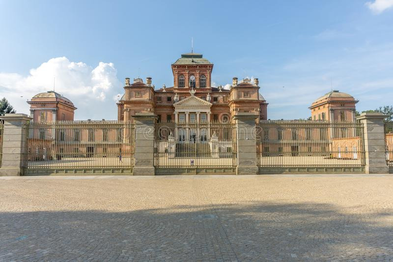 Castle of Racconigi in summer. On Cuneo, Racconigi, Italy, you can see the castle of Racconigi stock image