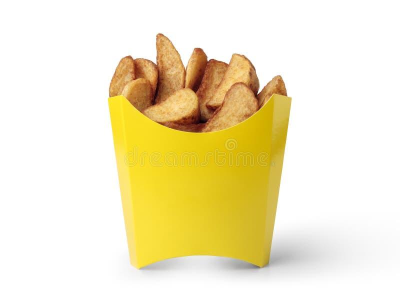 Cunhas da batata em uma caixa amarela imagens de stock royalty free