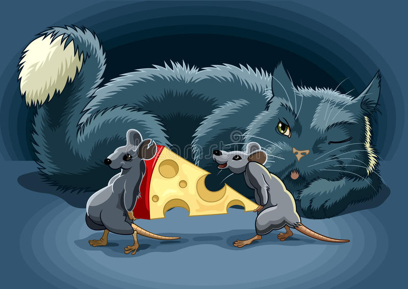 Cunning cat. The Cunning cat keeps a check on mouse with cheese vector illustration