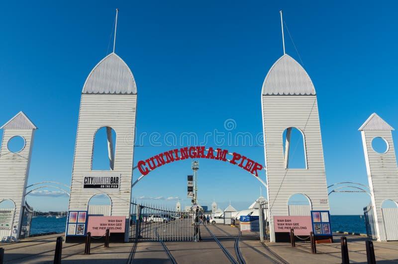 Cunningham Pier auf der Geelong-Ufergegend in Australien lizenzfreies stockfoto