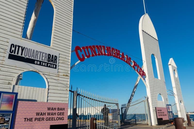 Cunningham Pier auf der Geelong-Ufergegend in Australien lizenzfreie stockfotos