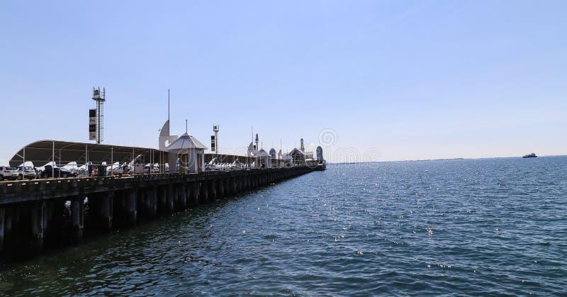 Cunningham pier in geelong,australia. Cunningham pier is taken in geelong,australia stock photography