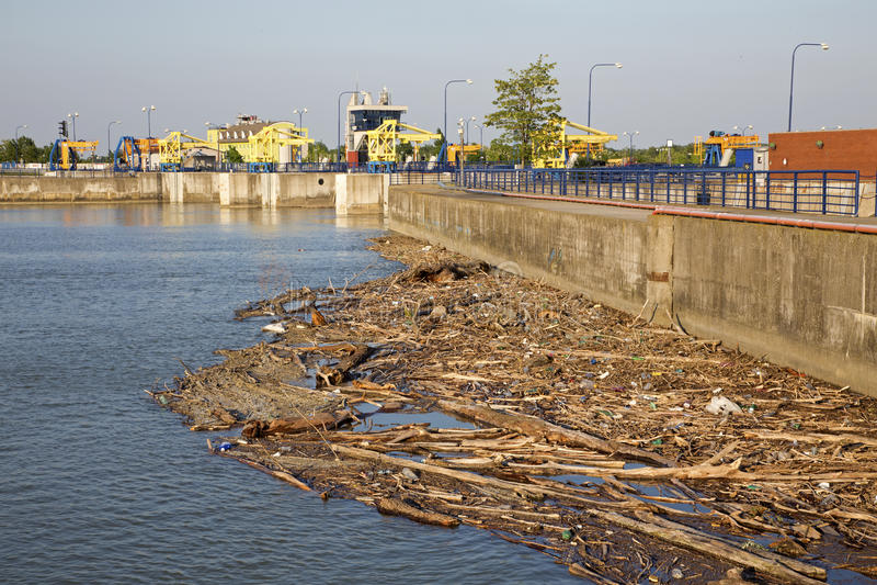 Cunovoversperring op de Donau - Slowakije stock fotografie
