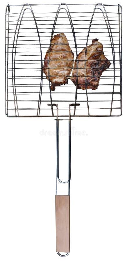 Cuocere cestino alla griglia con il raduno del pollo immagini stock libere da diritti
