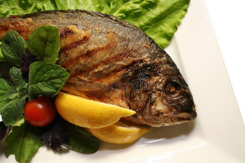 Cuocia un pesce alla griglia immagini stock libere da diritti