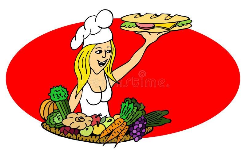 Cuoco con un panino illustrazione di stock