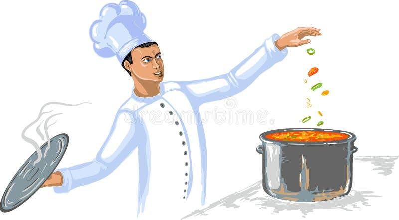 Cuoco del cuoco unico sulla cucina royalty illustrazione gratis