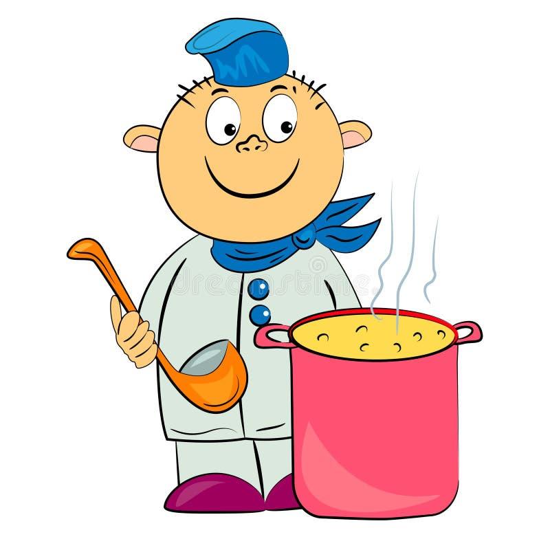 Cuoco del fumetto nell'illustrazione del kitchet. illustrazione di stock