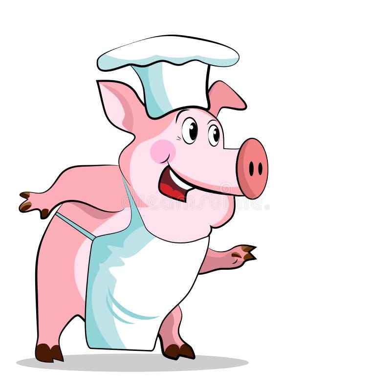 Cuoco del maiale - tenute del cuoco unico illustrazione di stock