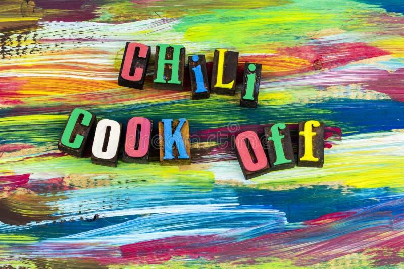 Cuoco del peperoncino rosso fuori dalla cottura del concorso dell'alimento fotografia stock libera da diritti