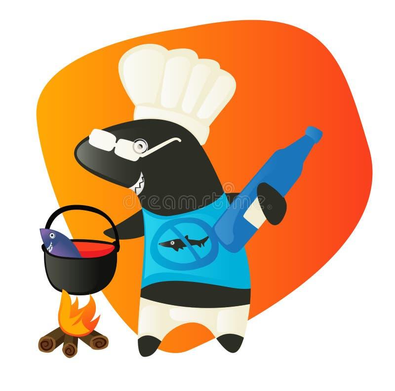 Cuoco dello squalo che mangia i pesci. Preparazione del pranzo. illustrazione di stock