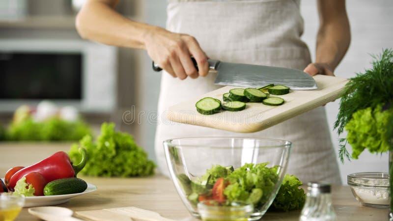 Cuoco femminile professionista che aggiunge le fette fresche del cetriolo in ciotola di vetro con insalata immagini stock