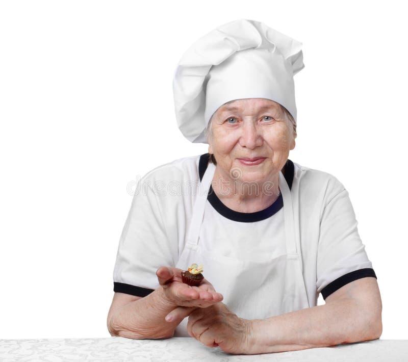 Cuoco maggiore della donna fotografia stock libera da diritti