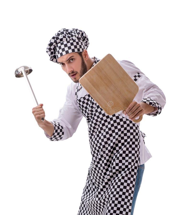 Cuoco maschio isolato sui precedenti bianchi fotografia stock libera da diritti