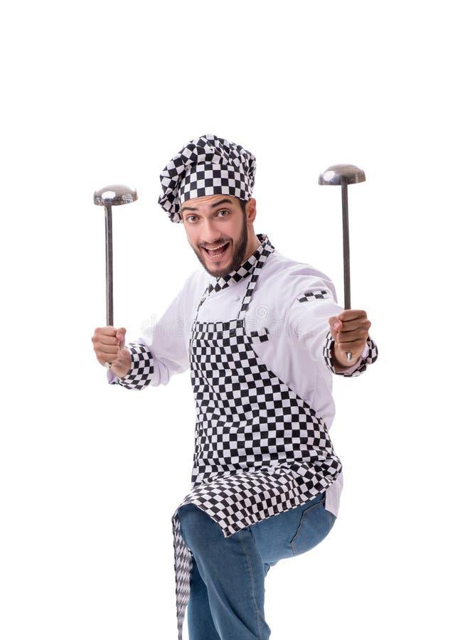 Cuoco maschio isolato sui precedenti bianchi immagine stock