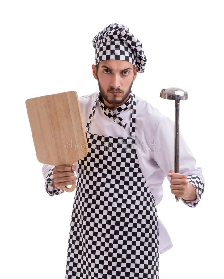 Cuoco maschio isolato sui precedenti bianchi immagini stock libere da diritti