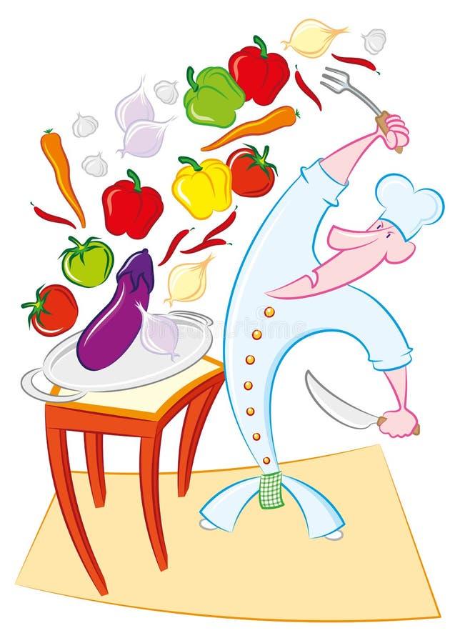 Cuoco Pazzo Con La Verdura Illustrazione Vettoriale