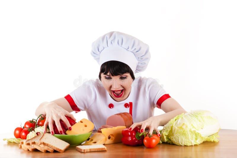 Cuoco unico affamato fotografia stock libera da diritti