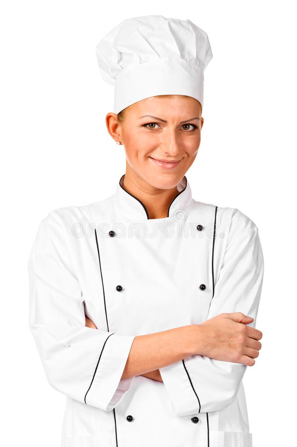 Cuoco unico allegro con le braccia attraversate immagini stock libere da diritti