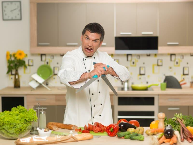 Cuoco unico arrabbiato immagine stock