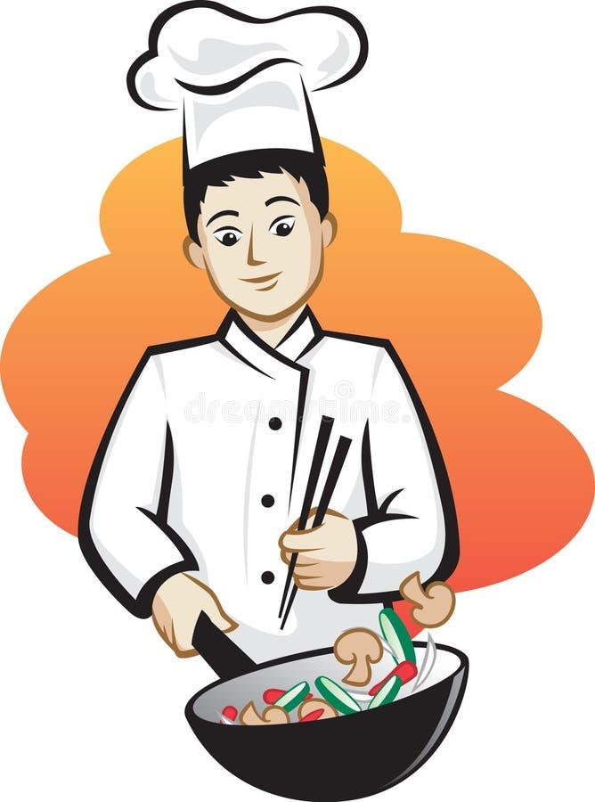 Cuoco unico asiatico illustrazione vettoriale