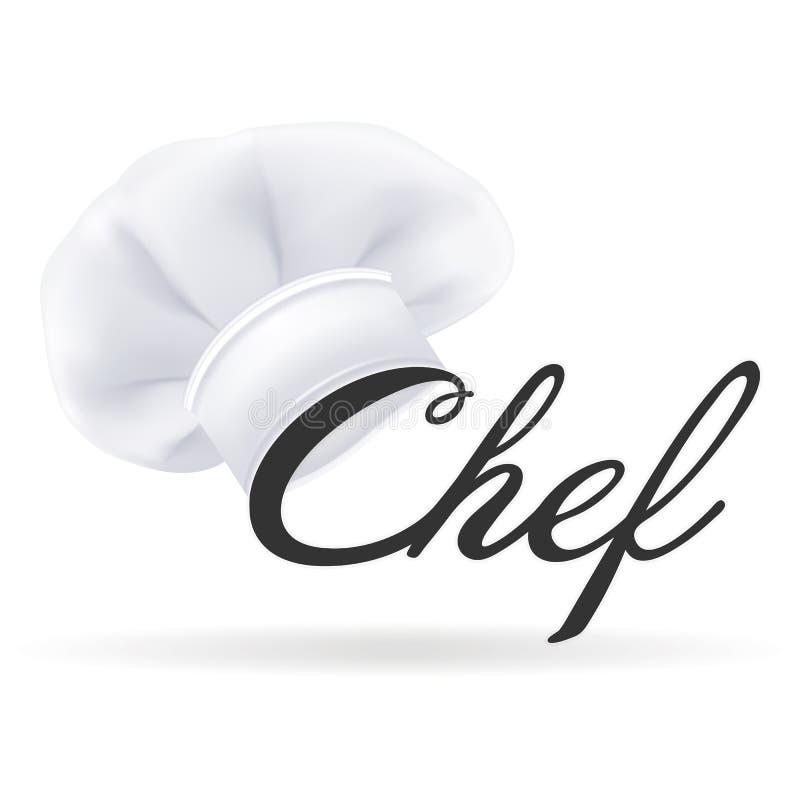 Cuoco unico bianco moderno fotorealistico Hat Cappello dei cuochi isolato su un fondo bianco Illustrazione di vettore illustrazione di stock