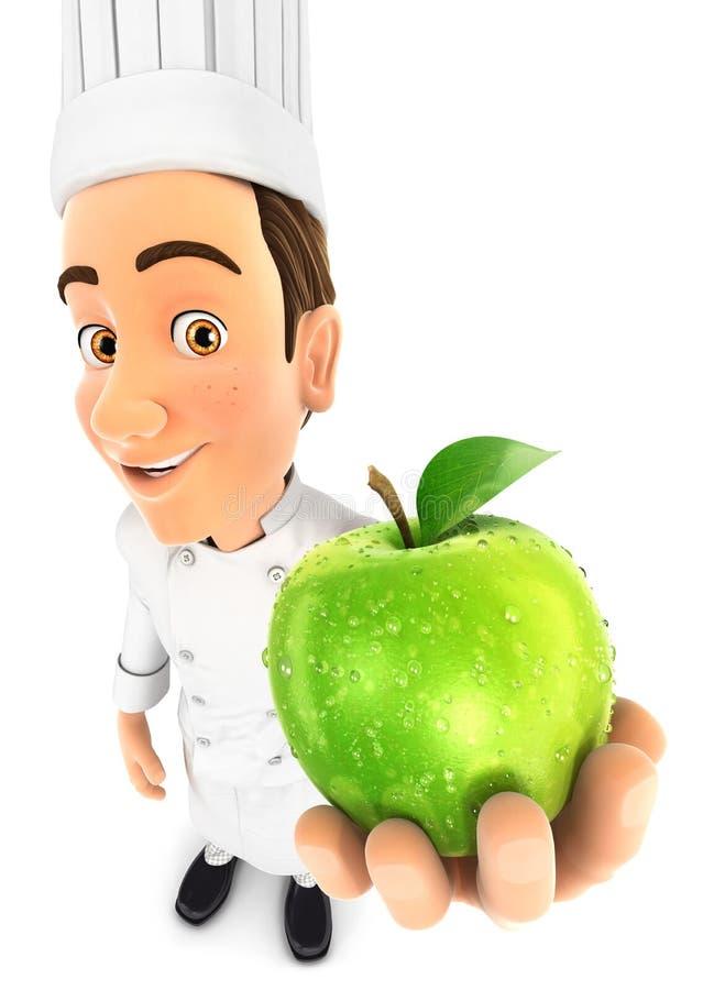 cuoco unico capo 3d che tiene mela fresca illustrazione vettoriale