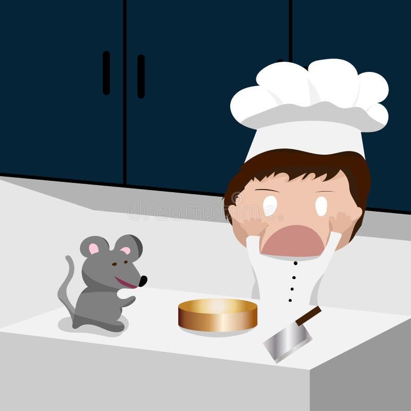 Cuoco unico in cappello del cuoco unico con il fronte preoccupato quando il ratto è comparso sul contatore fotografia stock libera da diritti