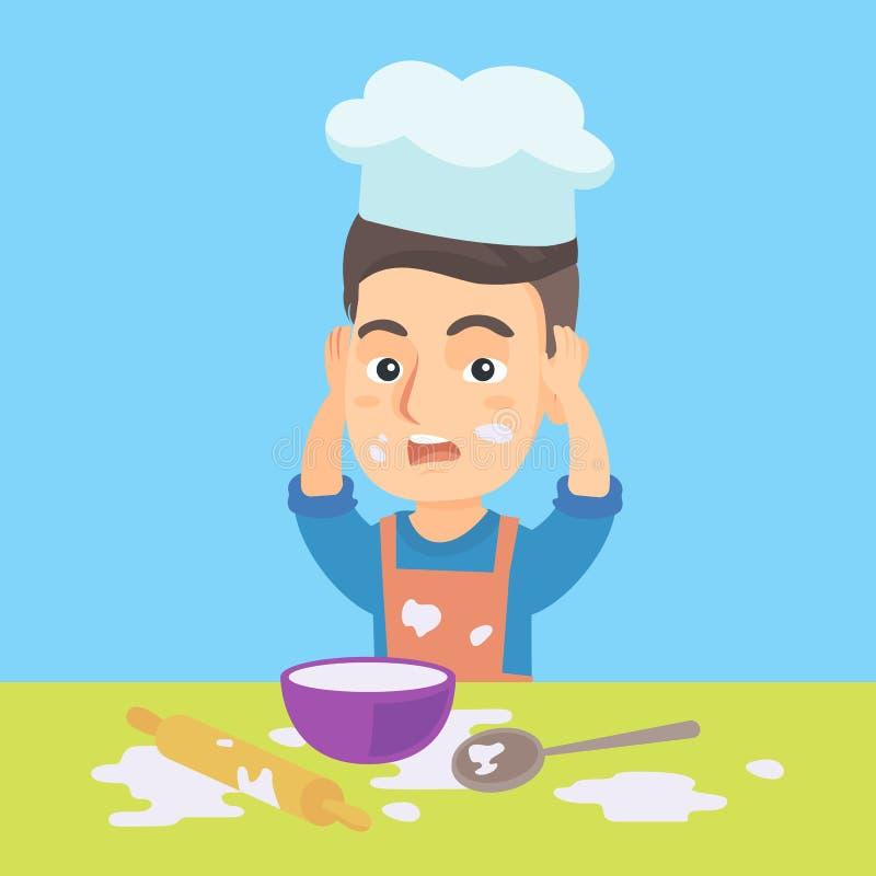 Cuoco unico caucasico piccolo che fa disordine durante la cottura illustrazione vettoriale
