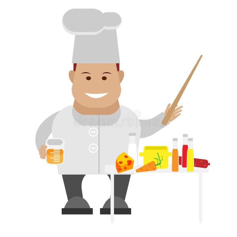 Cuoco unico che cucina lezione illustrazione vettoriale