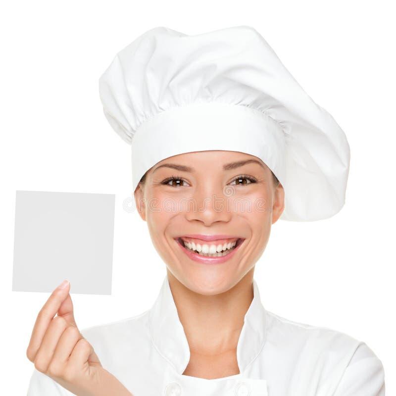 Cuoco unico che mostra la scheda del segno fotografia stock libera da diritti