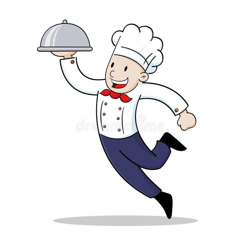 Cuoco unico che tiene un vassoio dell'alimento illustrazione di stock